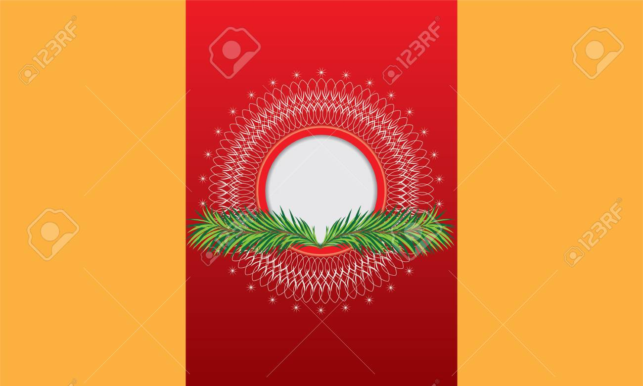 Illustrated Book Cover Vector ~ Illustrated greeting card with red background circle ornament