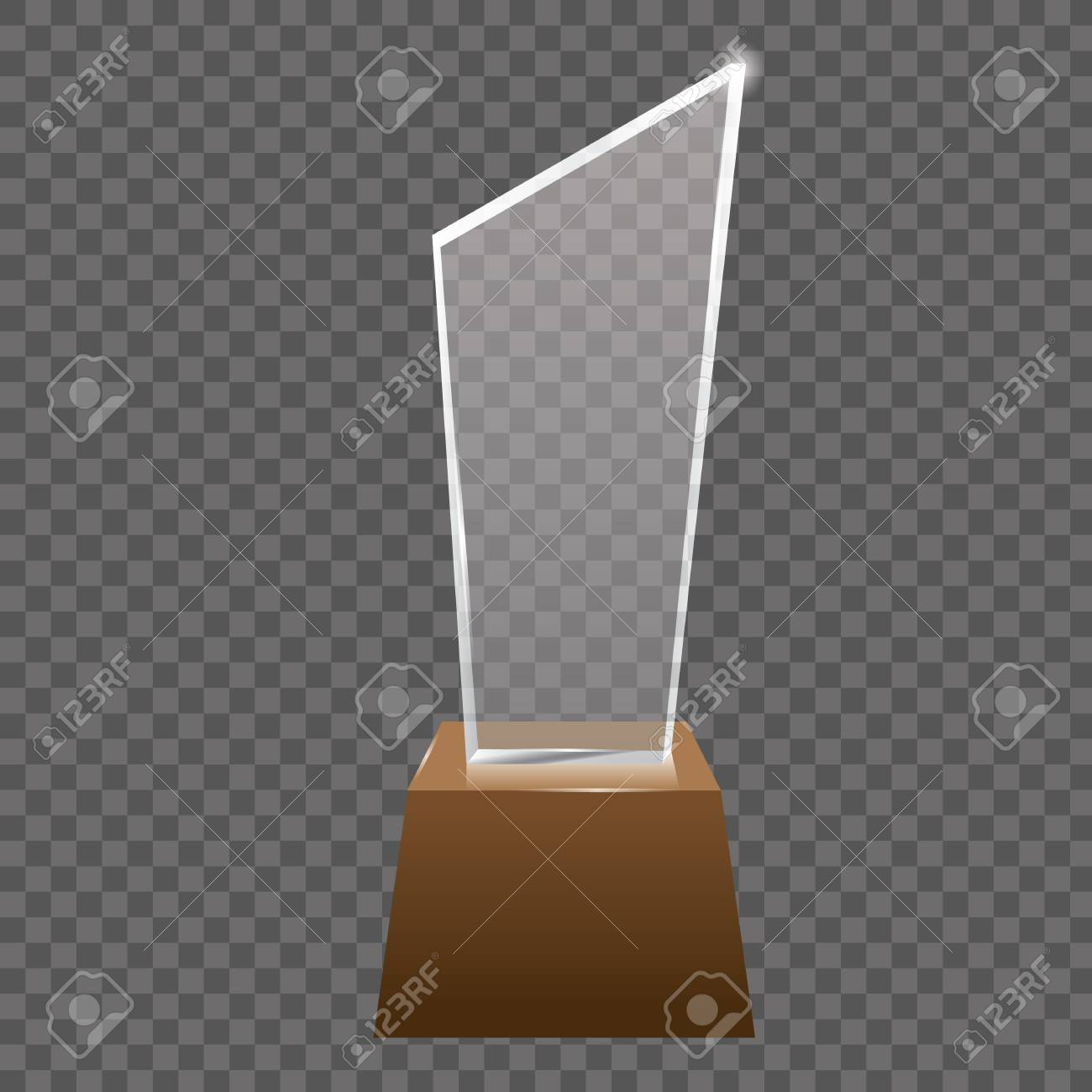 Empty realistic glass trophy awards vector statue  Glossy transparent