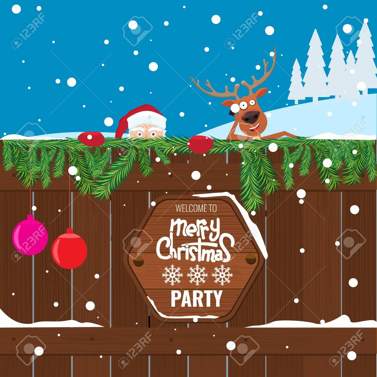 Weihnachtsfest-Plakat-Design-Vorlage. Cartoon-Stil Lustige ...