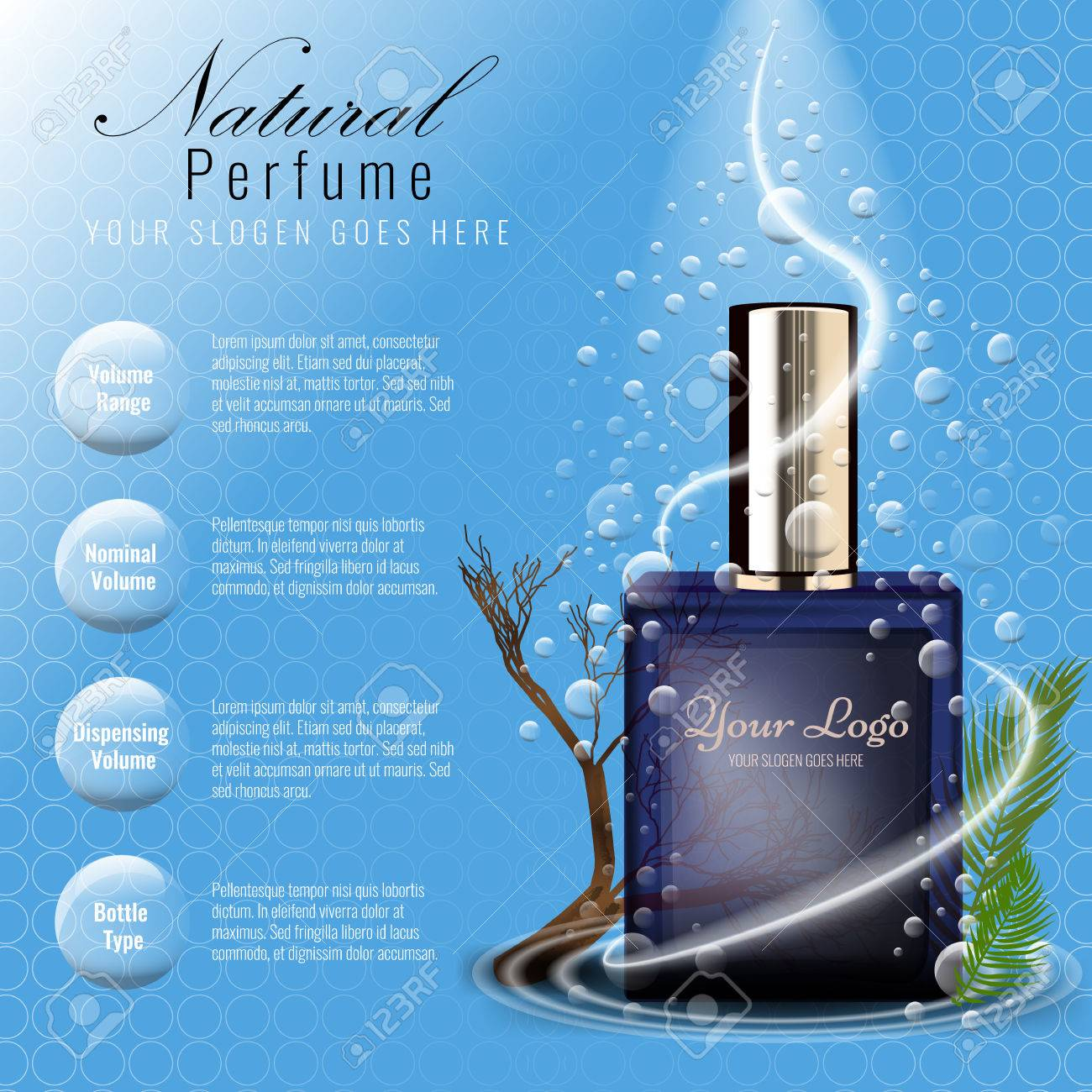 perfume ads template glass bottle mockup for ads or magazine