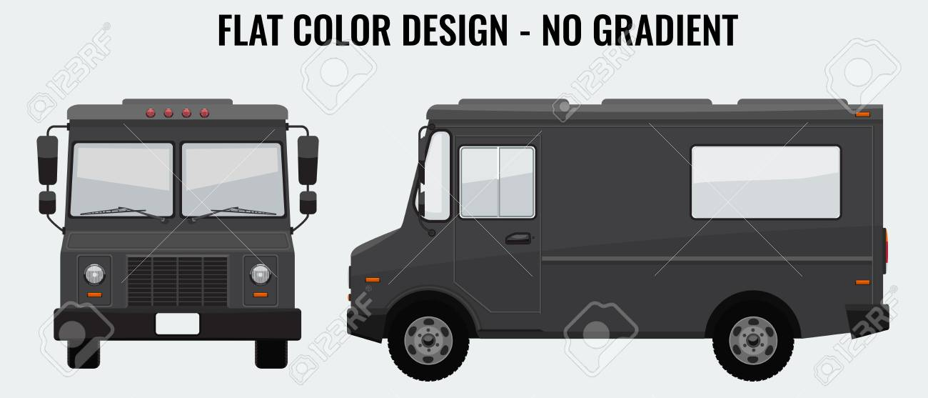 food truck hi detailed with solid and flat color design template
