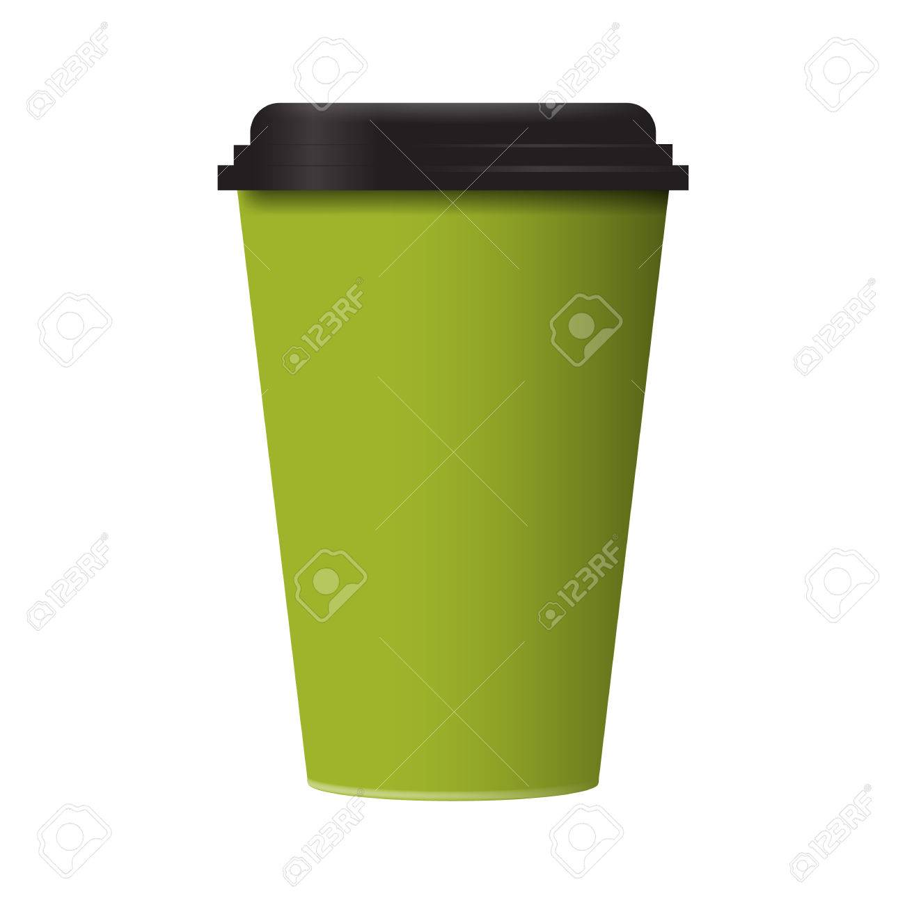 3d green realistic blank paper coffee cup mockup vector template