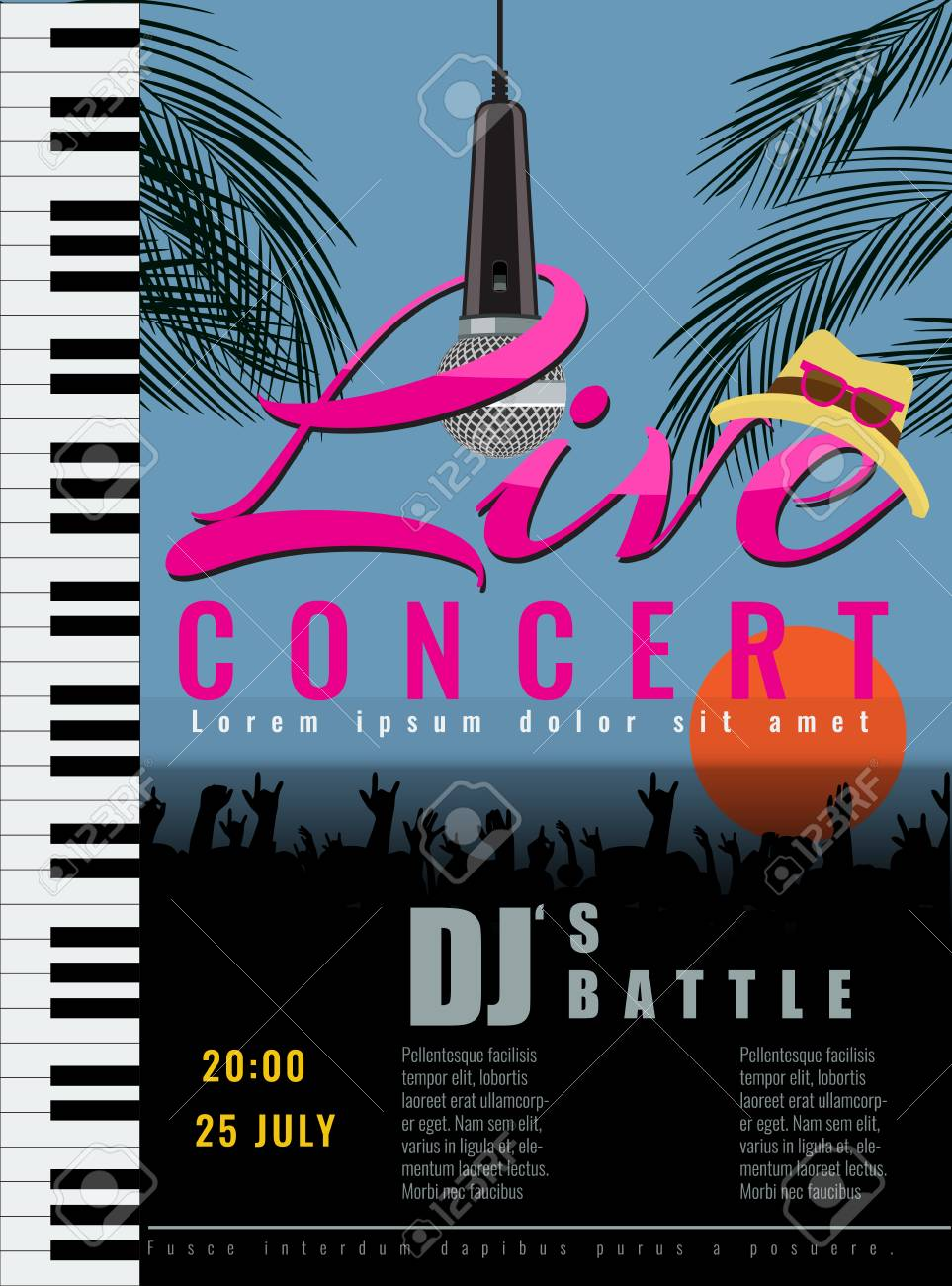summer live musical concert poster template vector illustration