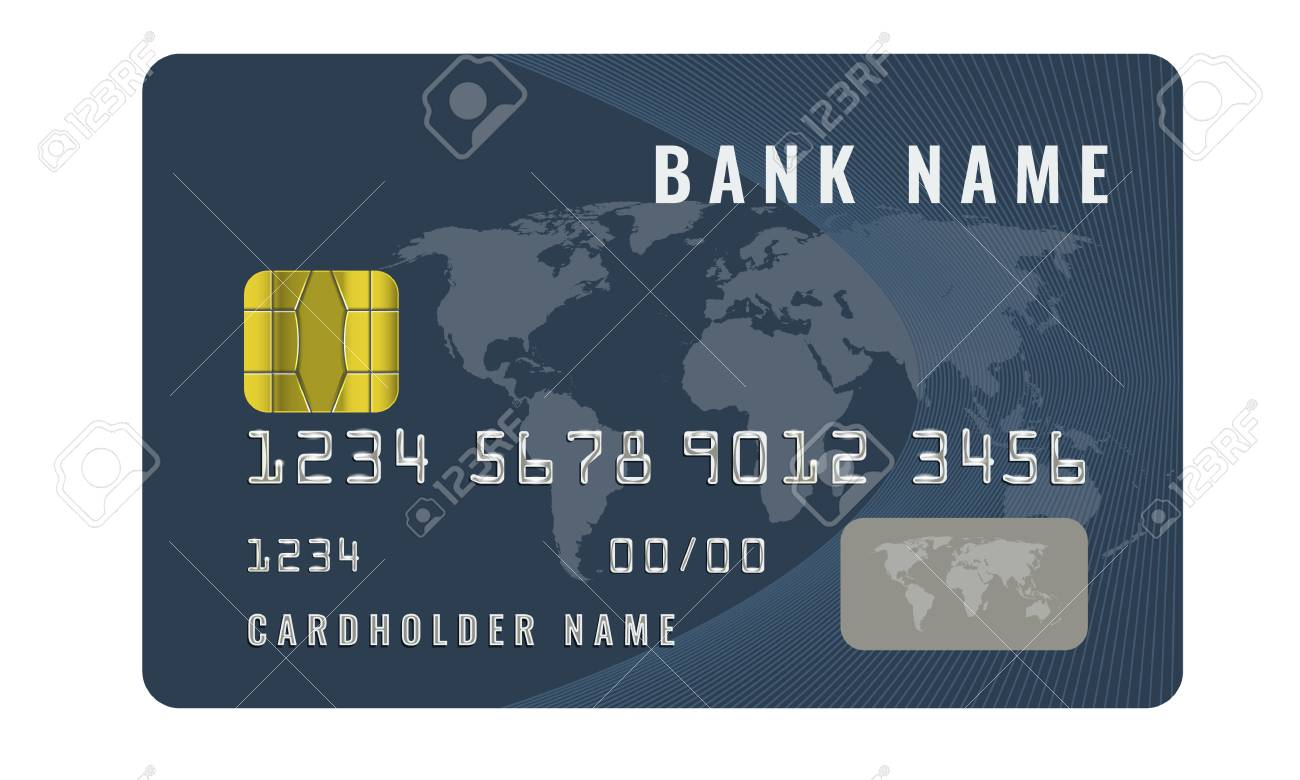 realistic credit card design template with a chip frontside view mock up dark blue color