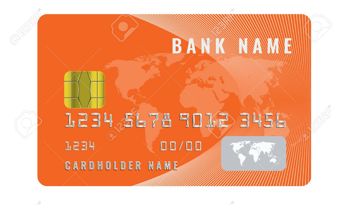 realistic credit card design template with a chip frontside view mock up illustrated vector