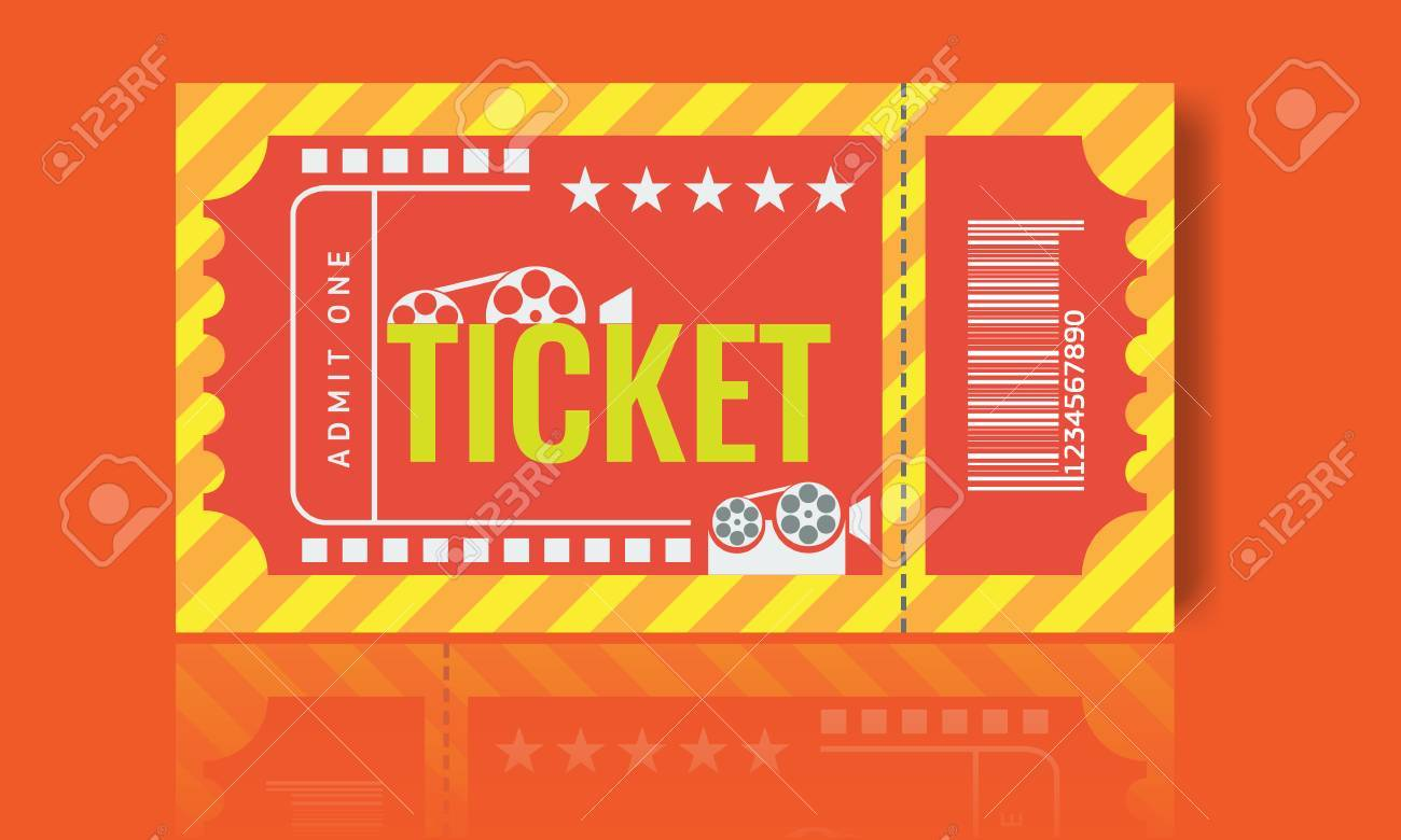 Cinema Ticket Sample Template Design. Trendy Vector Illustration ...