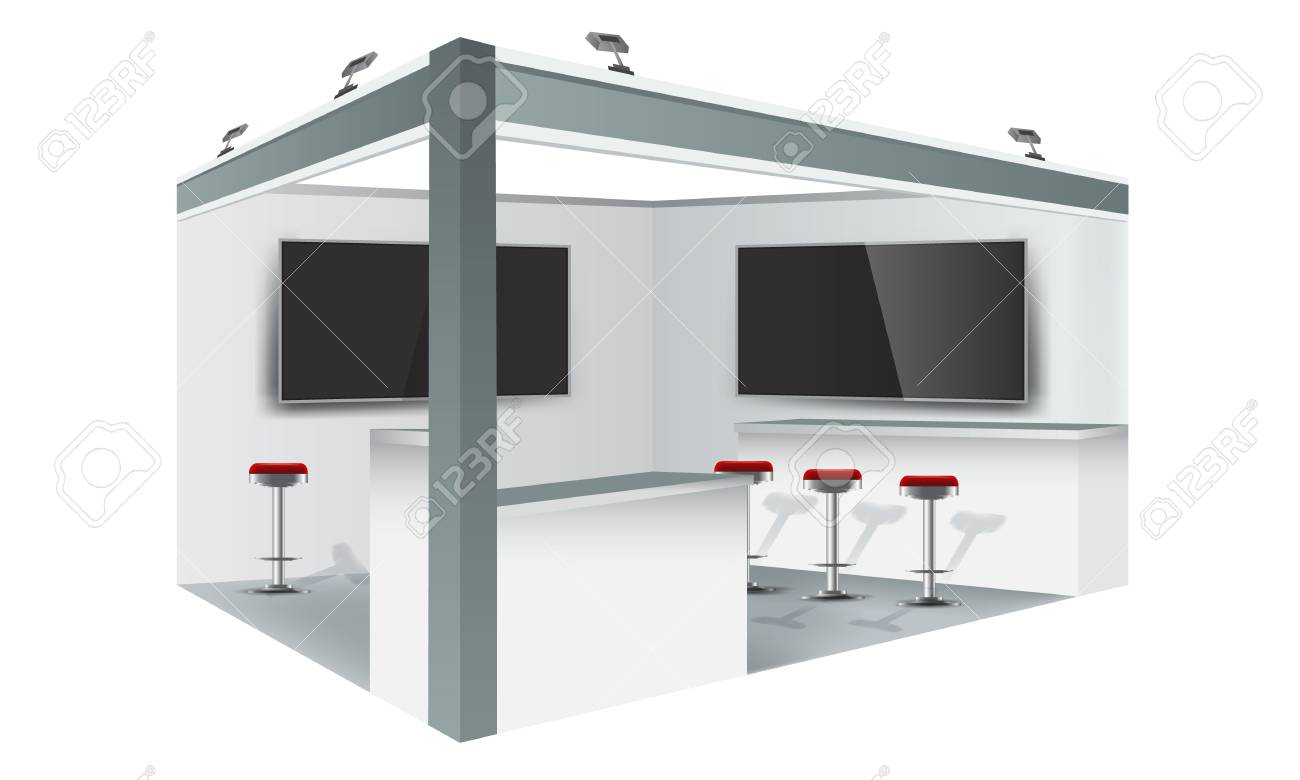 Exhibition stand display trade booth mockup design, white and
