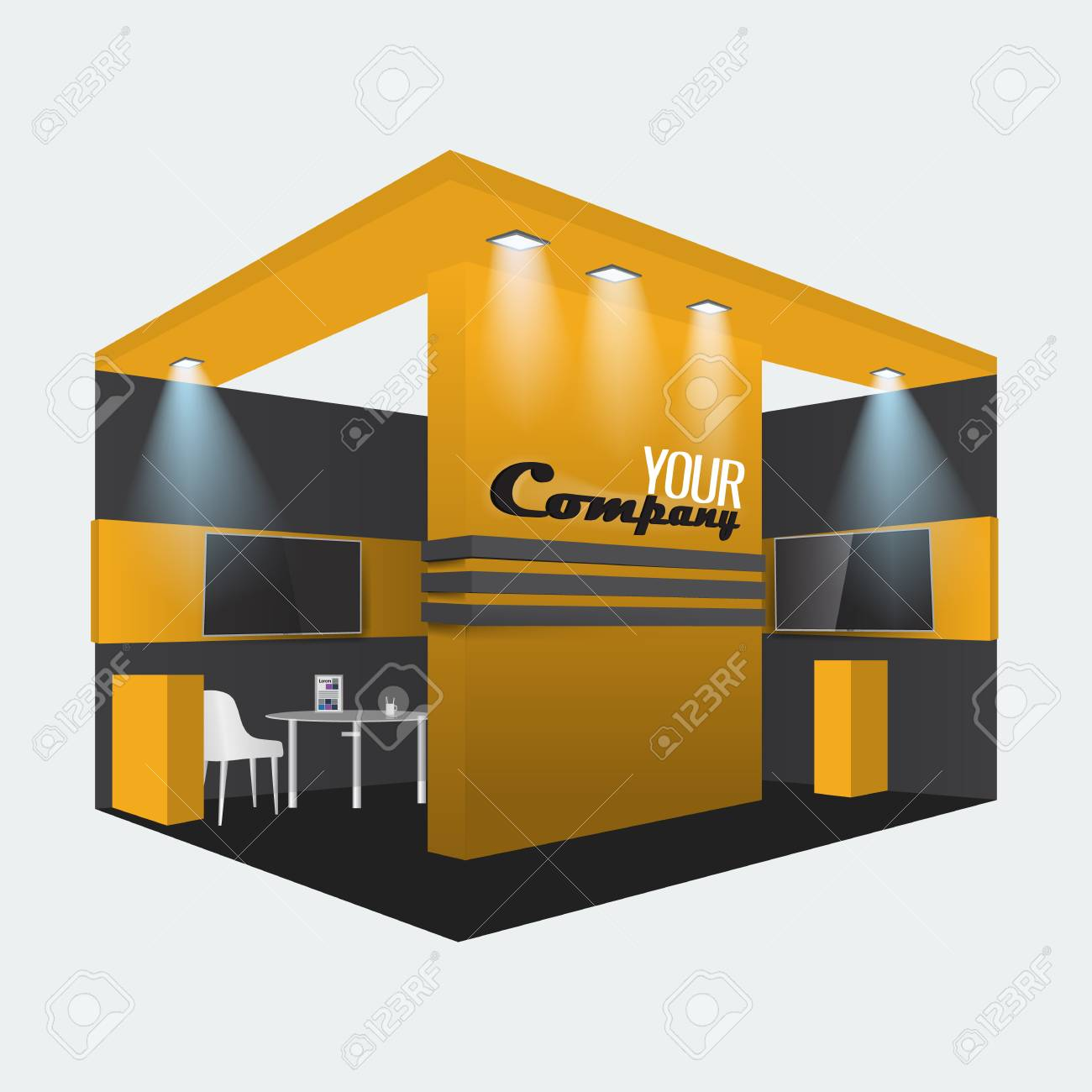 Exhibition stand display trade booth mockup design, orange and