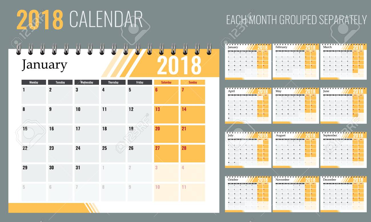 vector vector of 2018 new year calendar in clean minimal table simple style with orange color holiday event planner