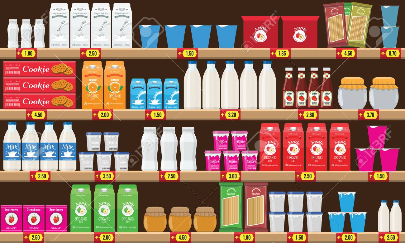Supermarket, shelf with food and drinks package boxes. Price tag on racks. Illustration with flat and solid color design. - 93474789