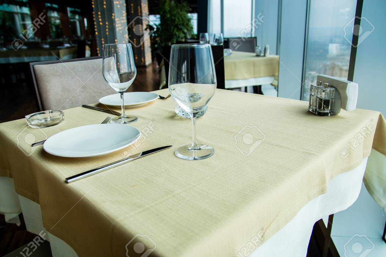 Restaurant Empty Table For Two With Window View Stock Photo - Table for two restaurant