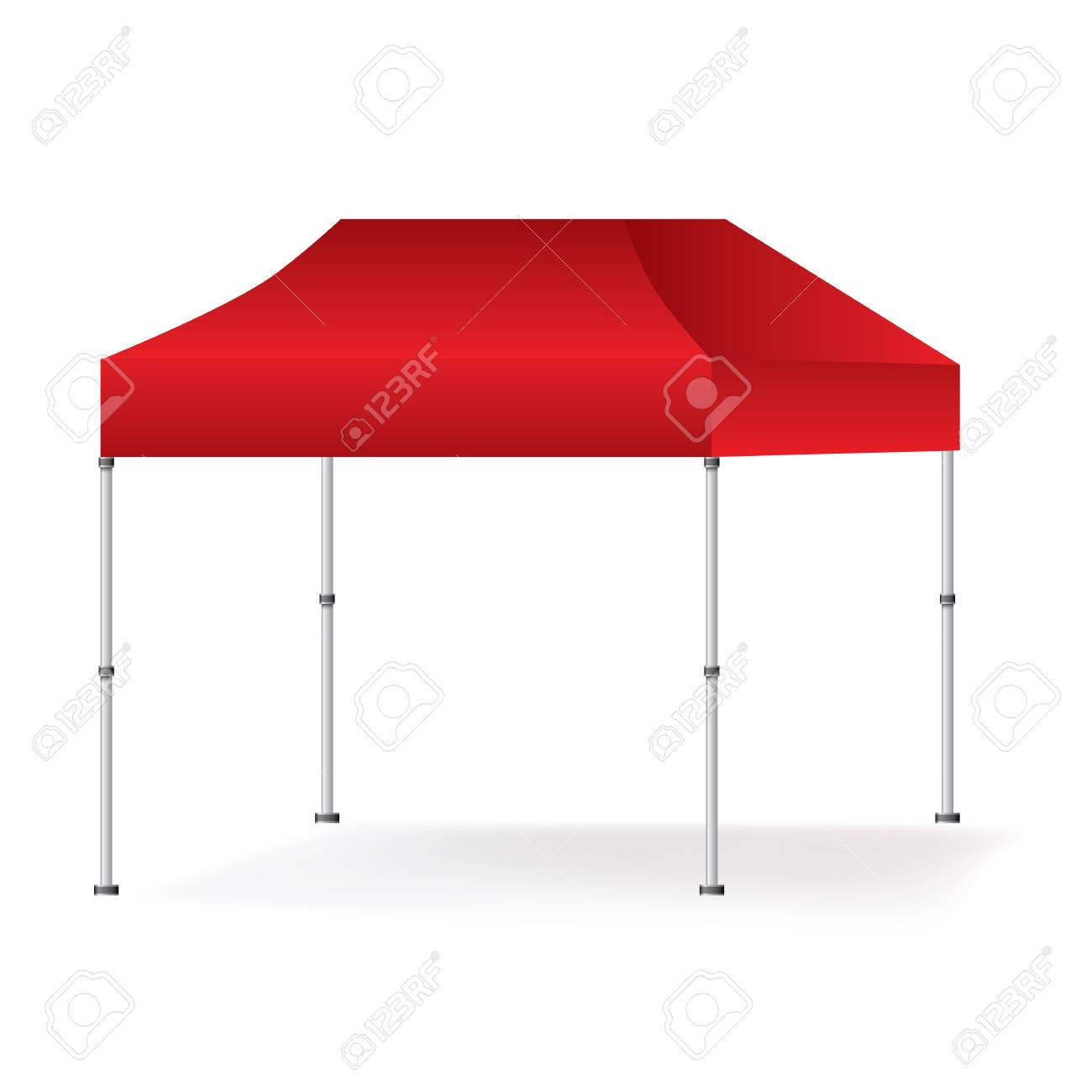 Vector Blank outdoor red marquee tent booth mock up isolated