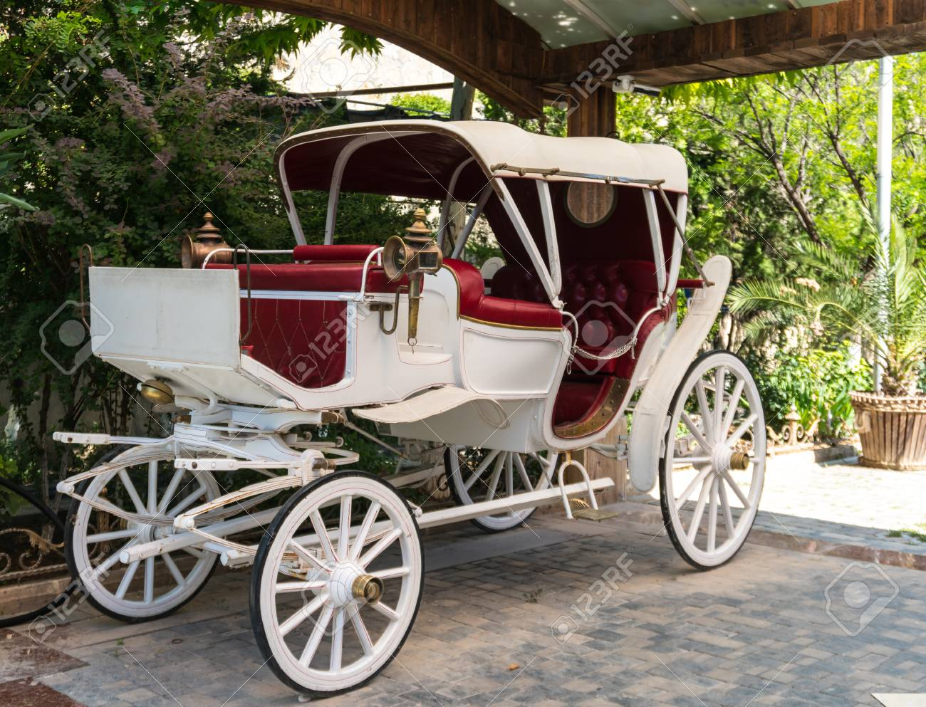 Old Or Antique White Horse Drawn Carriage Mock Up Stock Photo Picture And Royalty Free Image Image 104361051