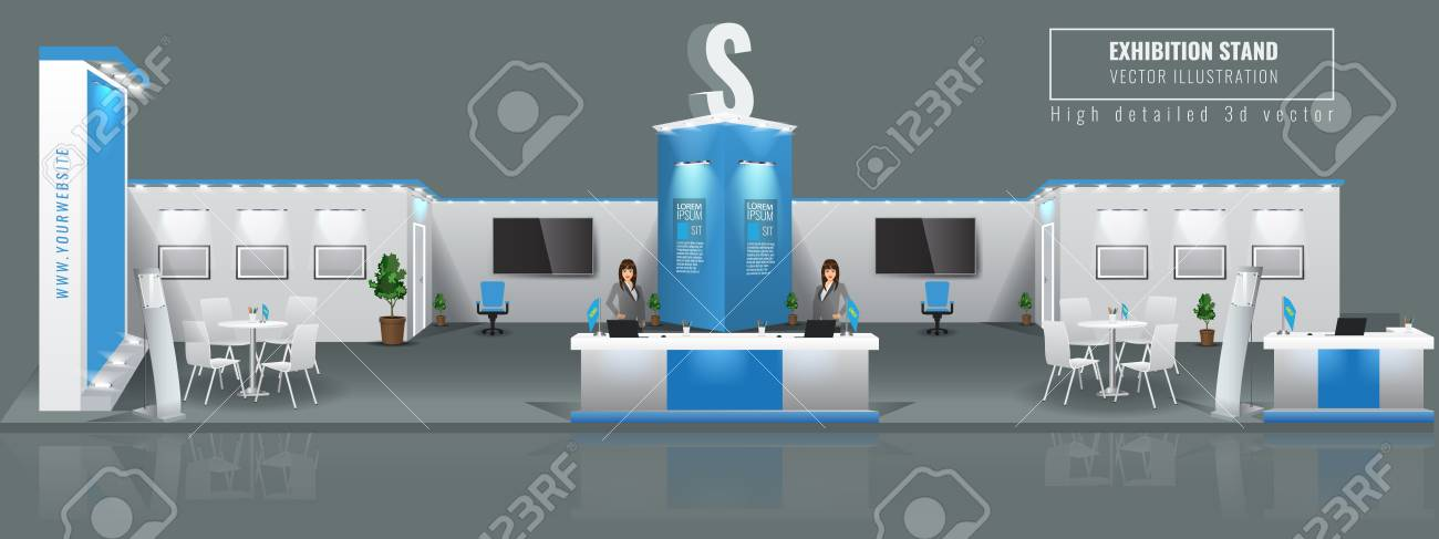 Grand Exhibition stand display mock up. Vector illustration. - 110492998