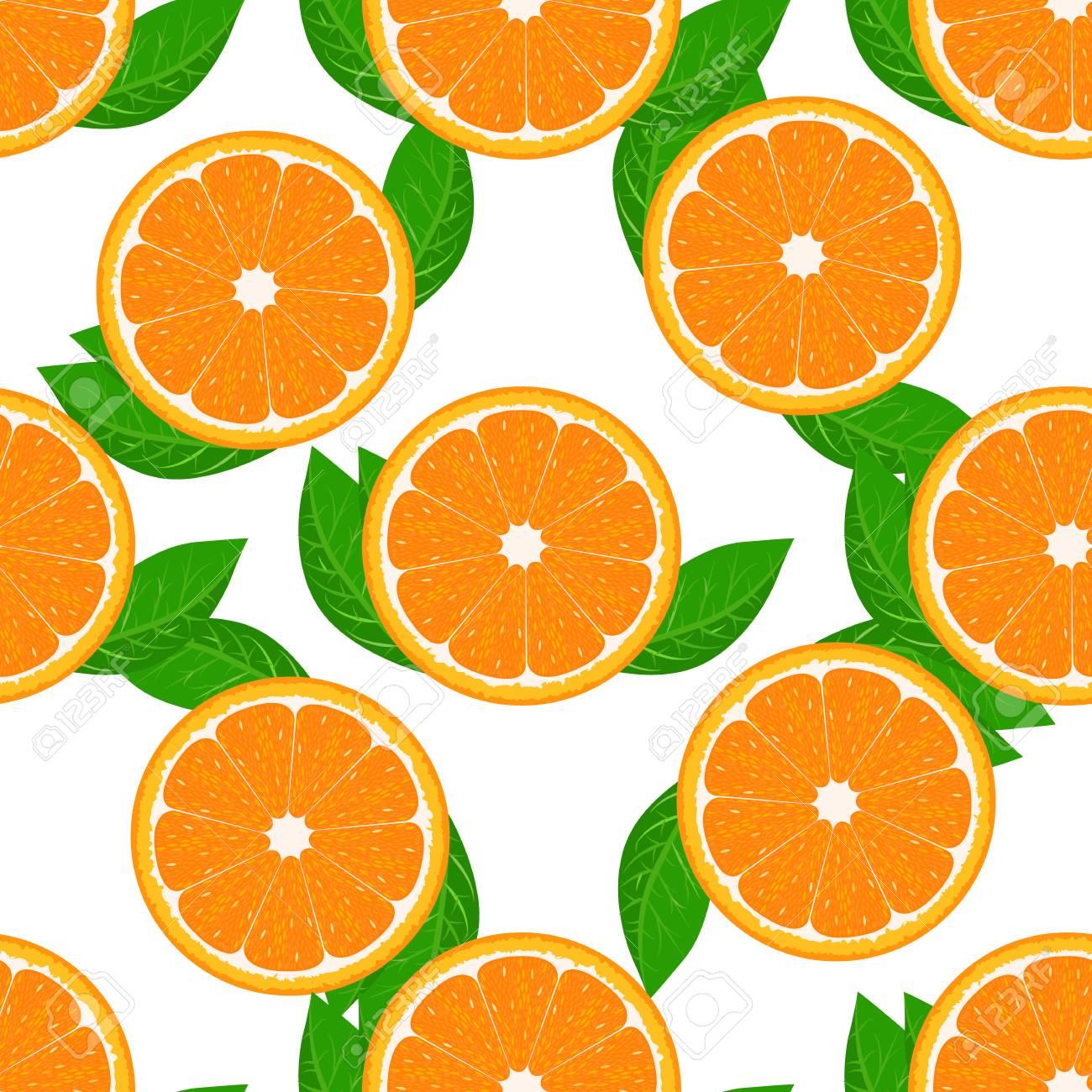 Orange fruit seamless with leaf. High detailed sliced oranges. Flat and solid color Vector Illustration. - 127057659