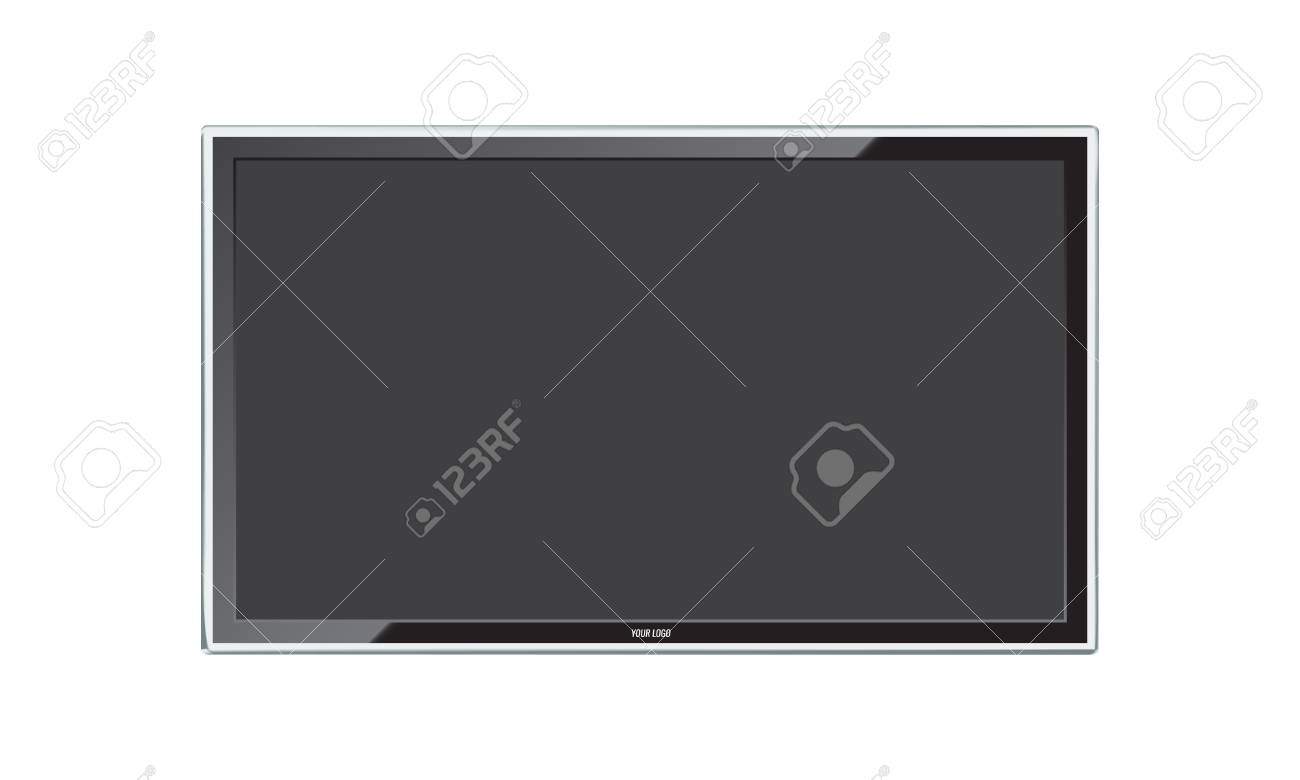 Modern Led TV screen with realistic reflection. - 122792703