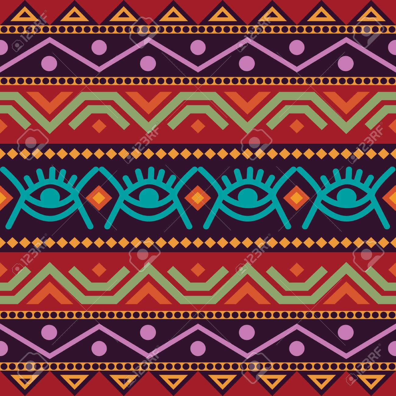 African seamless with adinkra symbols. Antique pattern design. - 145203386