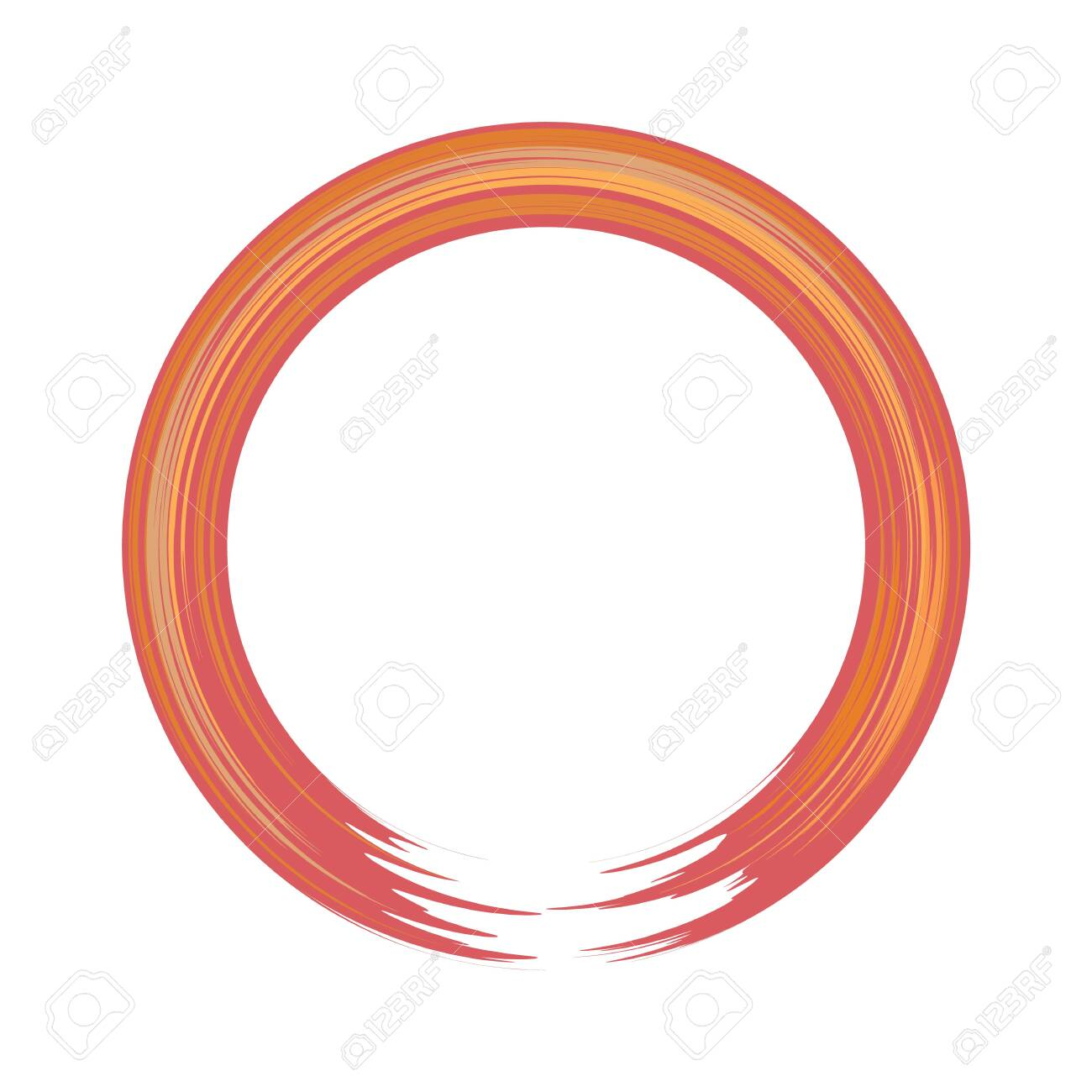 Hand-painted acryllic circle or round border. Flat and solid color vector illustration. - 146162987