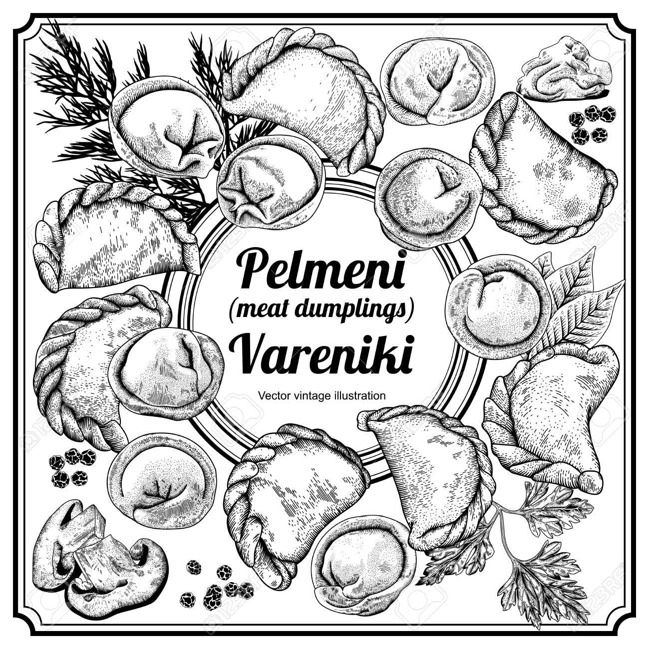 vareniki pelmeni meat dumplings food dill parsley black  pelmeni meat dumplings food dill parsley black pepper