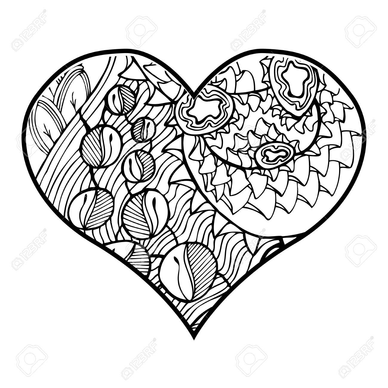 Zentangle Corazón Con Motivo Floral Abstracto En El Interior ...