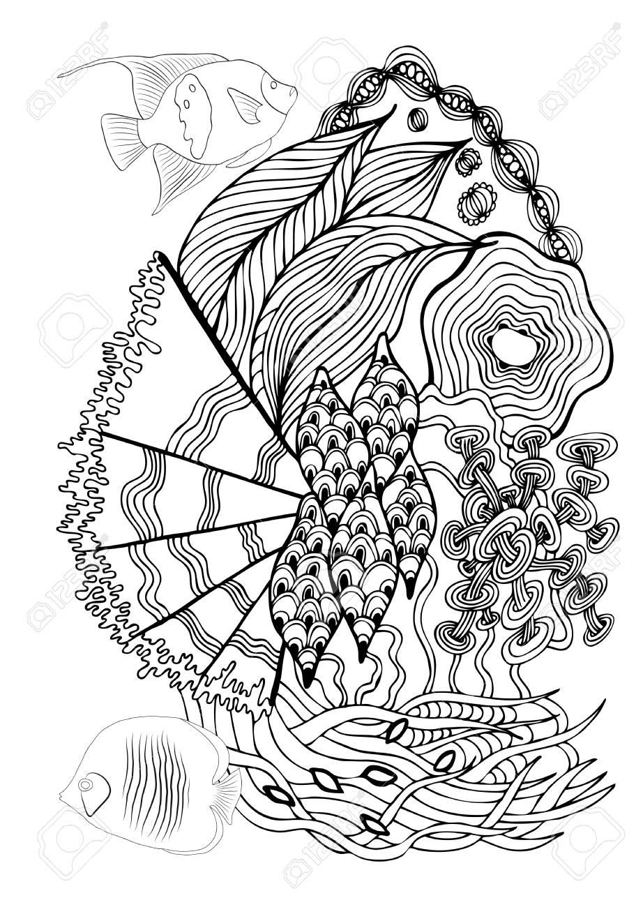 Página Dibujada A Mano En Estilo Zendoodle Para Libro Para Colorear ...