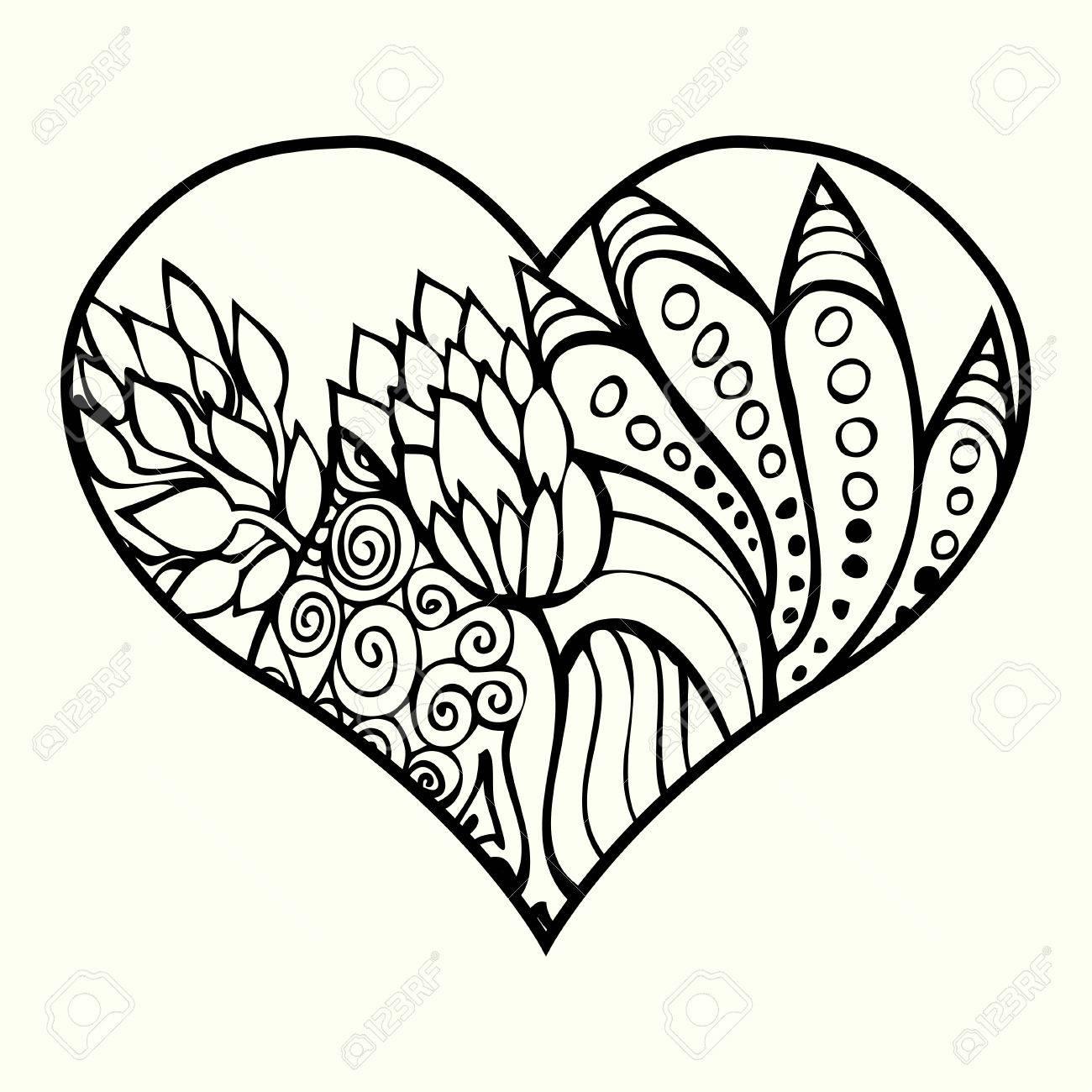 Zentangle Del Corazón Con El Estampado De Flores Abstracto Dentro ...