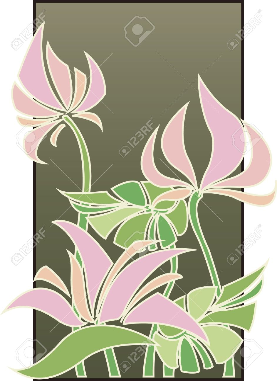 Flowers composition in Art Deco style Stock Vector - 10354336