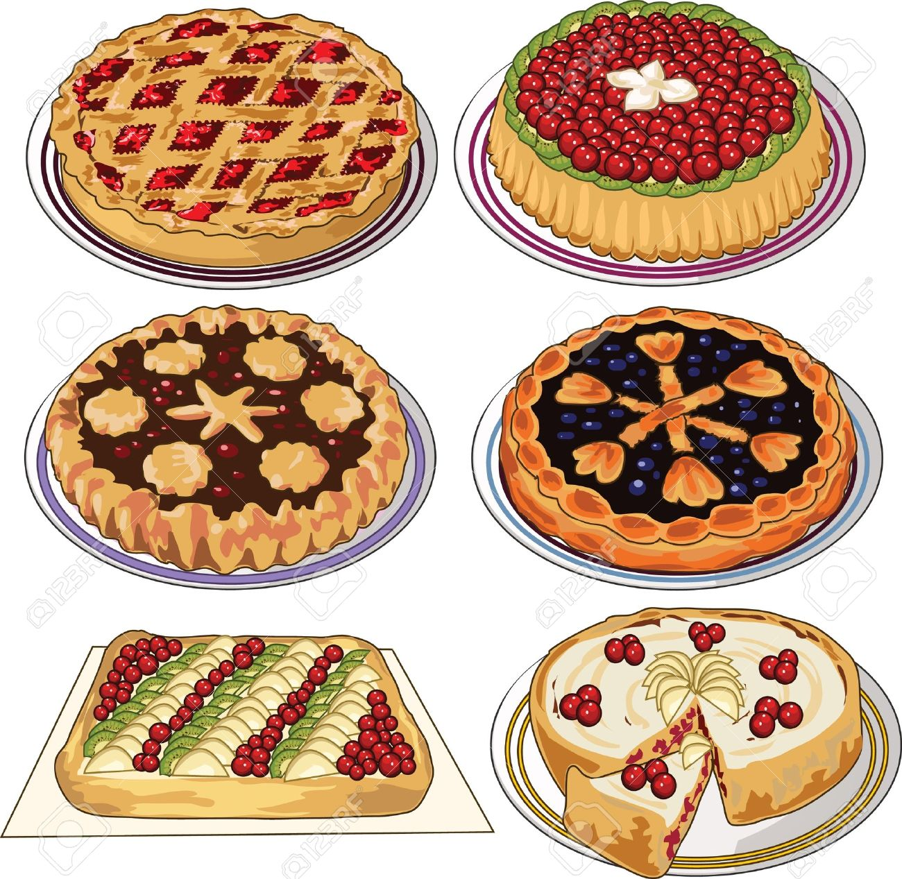 Clip art set of homemade pies Stock Vector - 11671553