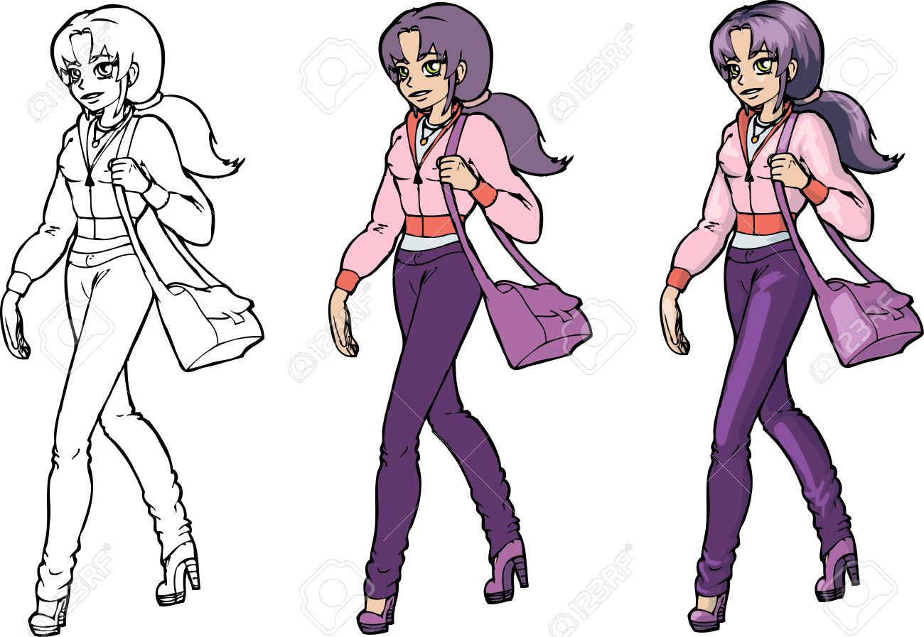 Cartoon girl in anime style lineart and color Stock Vector - 11671551
