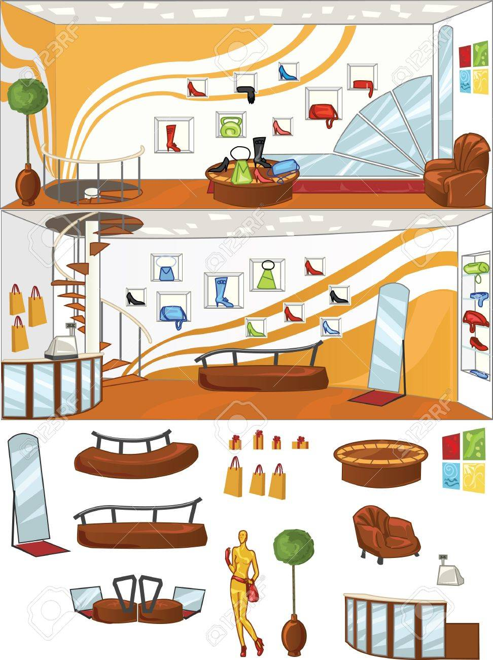 concept design of shoes shop interior, with isolated objects Stock Vector - 11671558