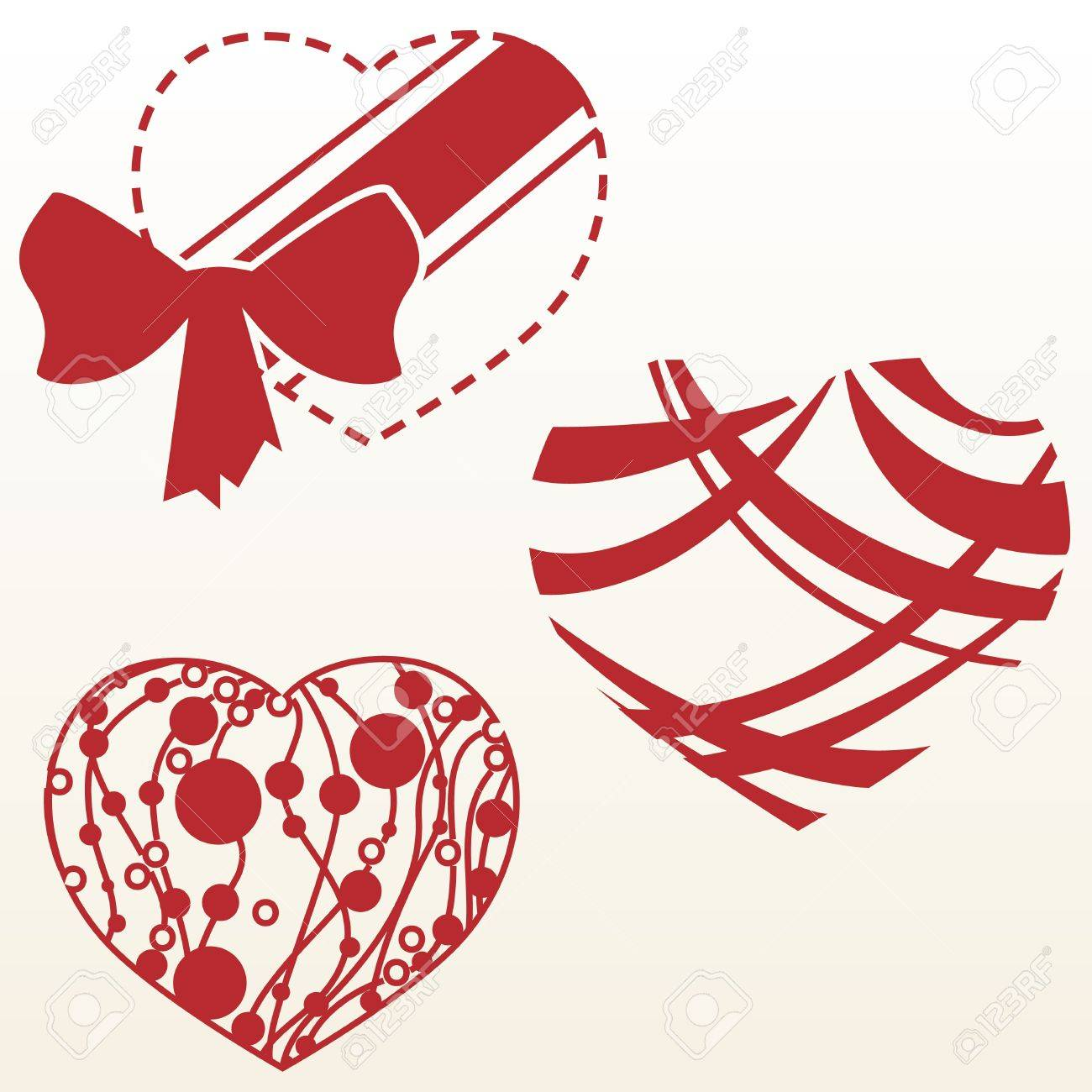 Set of three designs of heart shape Stock Vector - 12495872