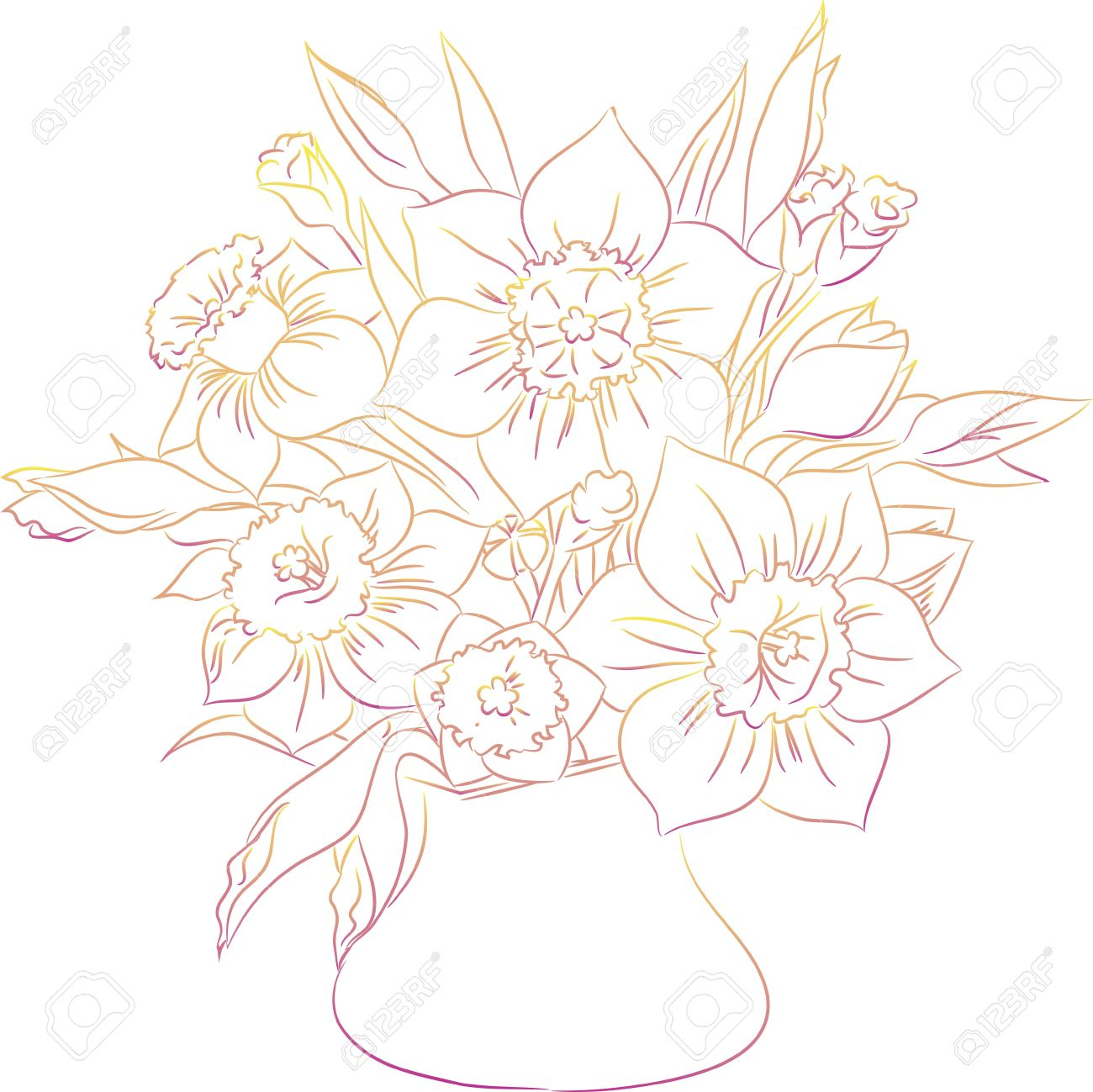 daffodil bouquet line art royalty free cliparts vectors and