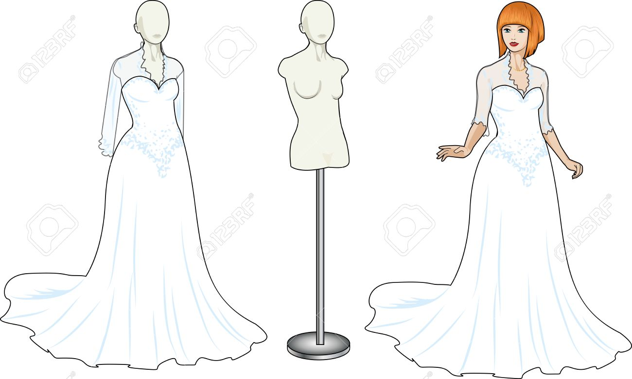 Beautiful caucasian woman tries on traditional white wedding..
