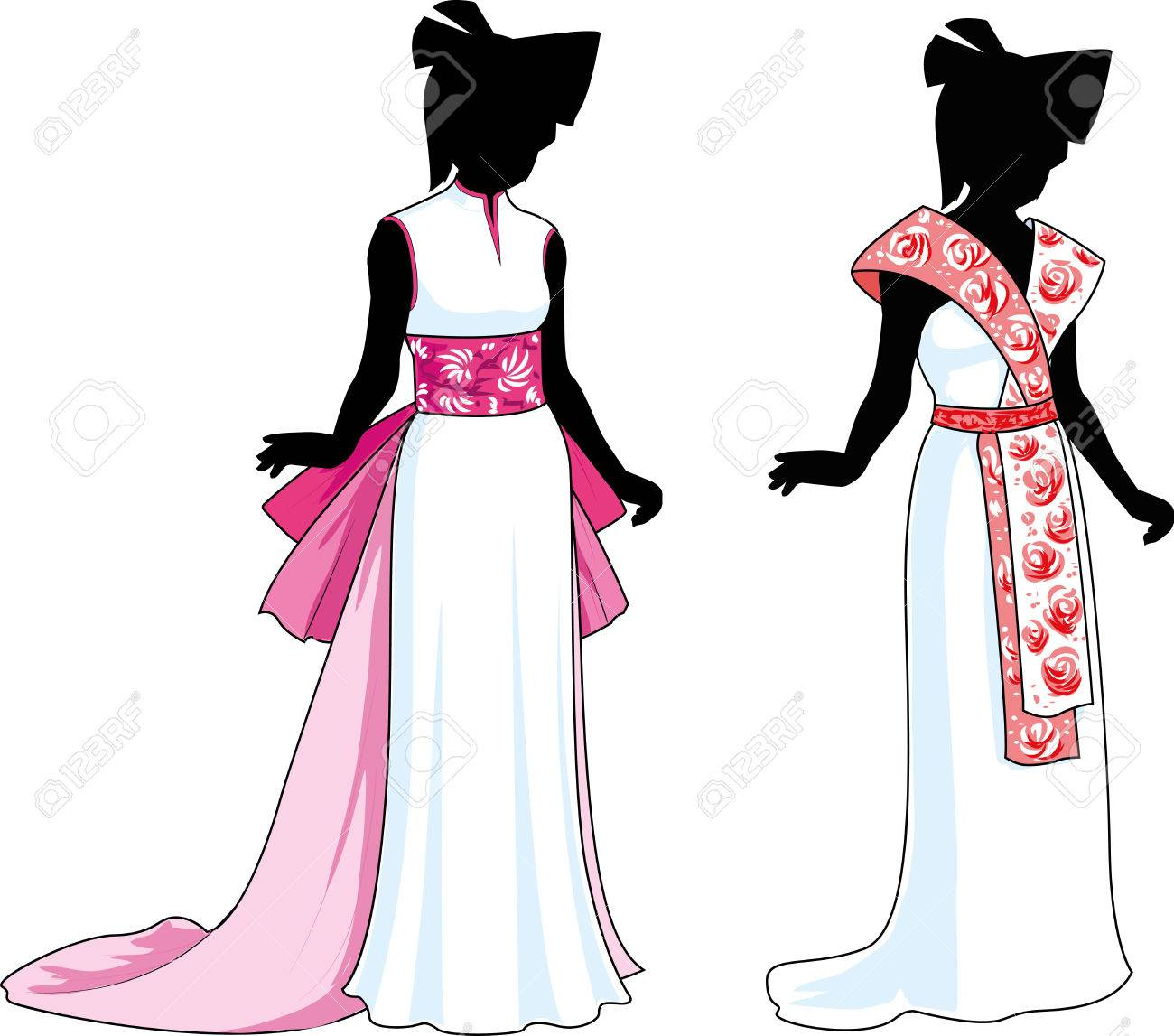 silhouette beautiful woman in unusual white wedding gown with asian ethnic elements design variation isolated cartoon illustrations Stock Vector - 26008766