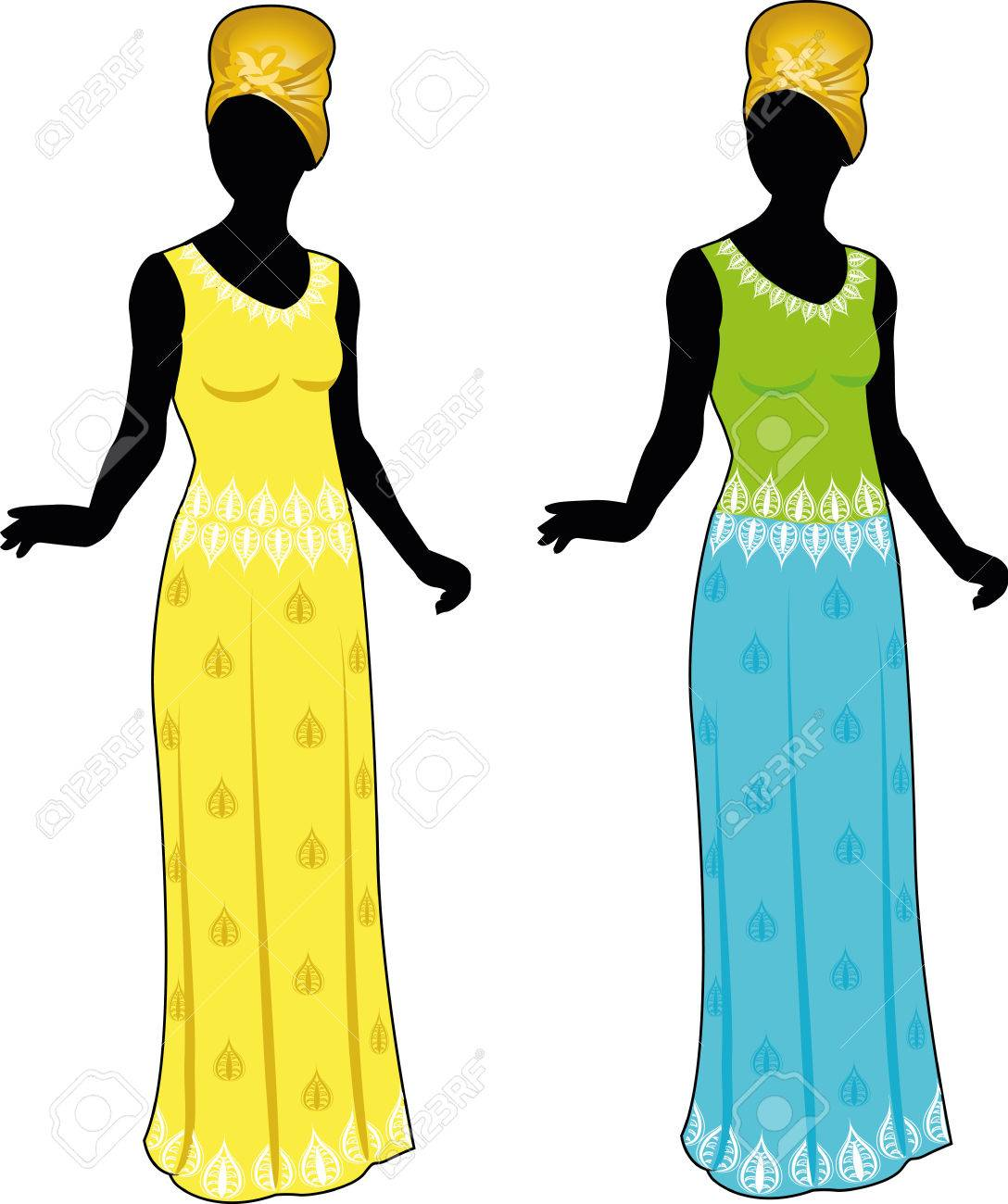 Silhouette Beautiful Woman In Authentic African Ethnic Clothes ...