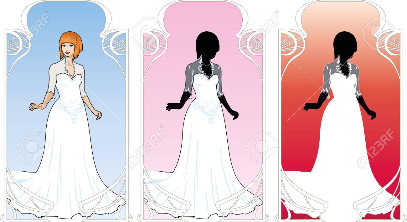 Hermosa Mujer Caucásica En Vestido De Novia Blanco Tradicional En El ...