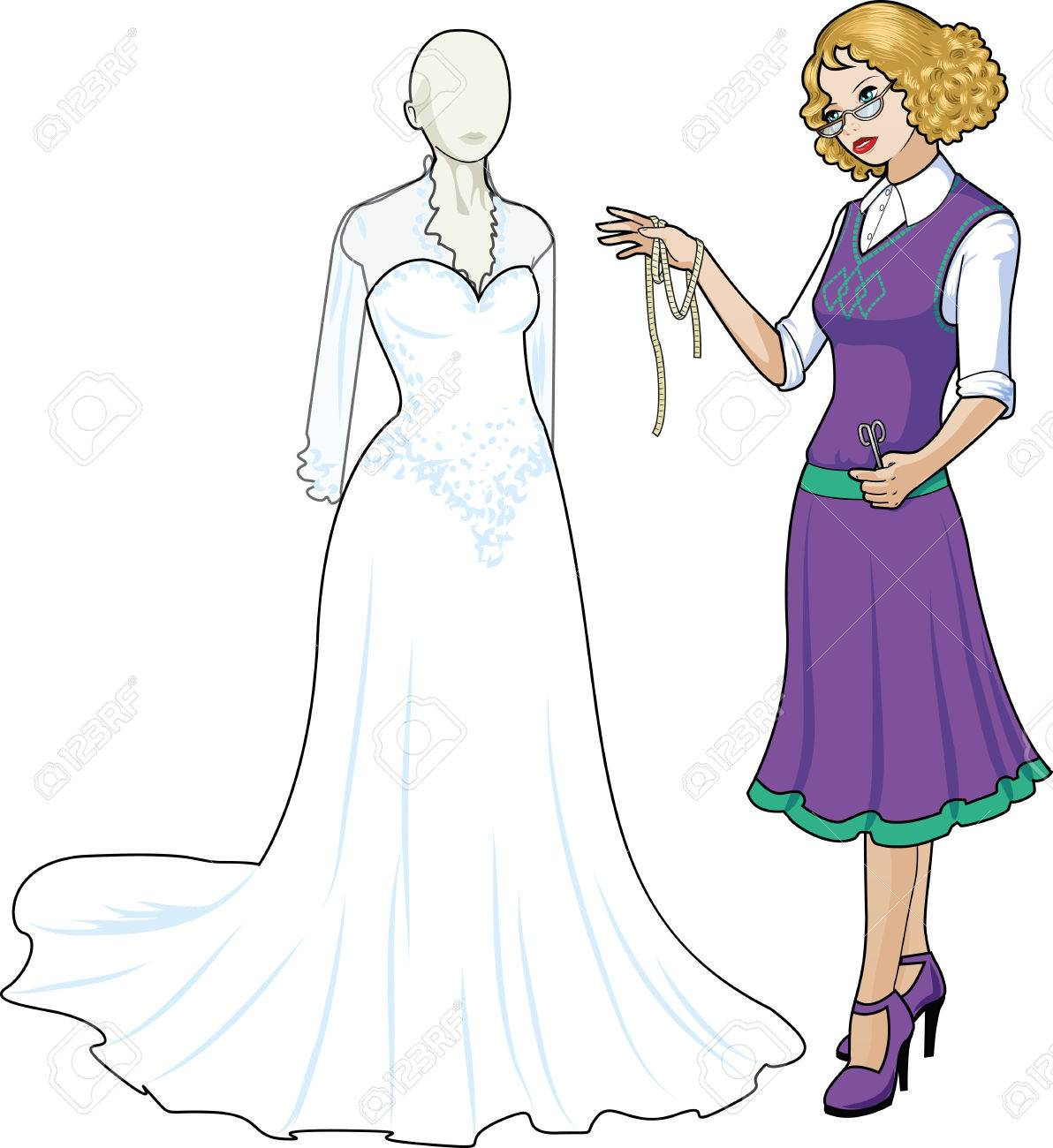 Beautiful caucasian female professional costume designer works on traditional white wedding gown dressed mannequin isolated cartoon illustrations Stock Vector - 26008774