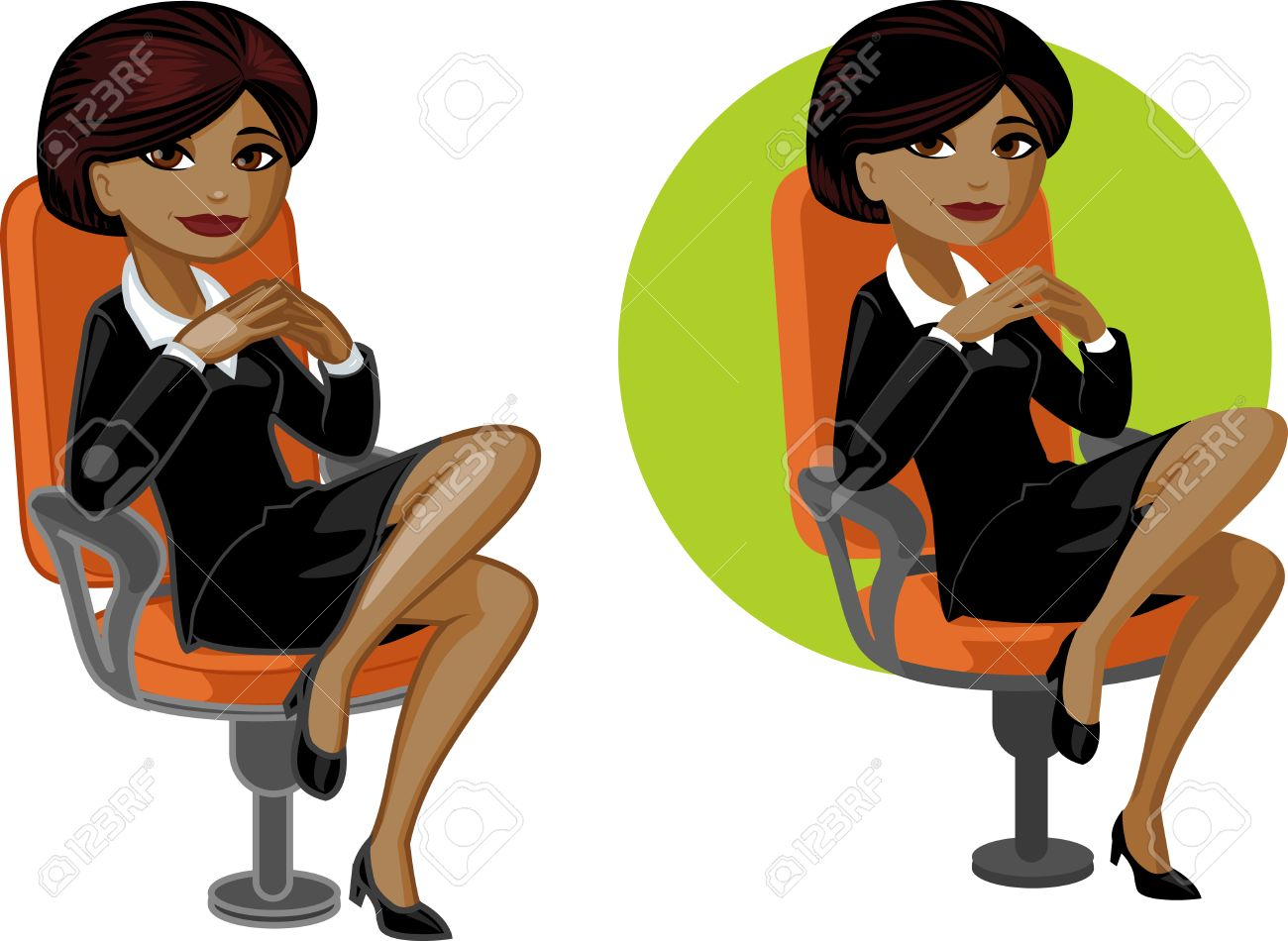 short arm cute young african american office woman on chair vector in cartoon style - Office Chair For Short Person