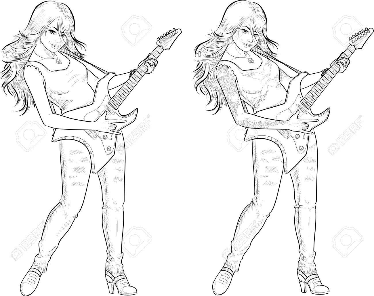 Femme Musicien De Rock Avec Des Tatouages Jouant De La Guitare