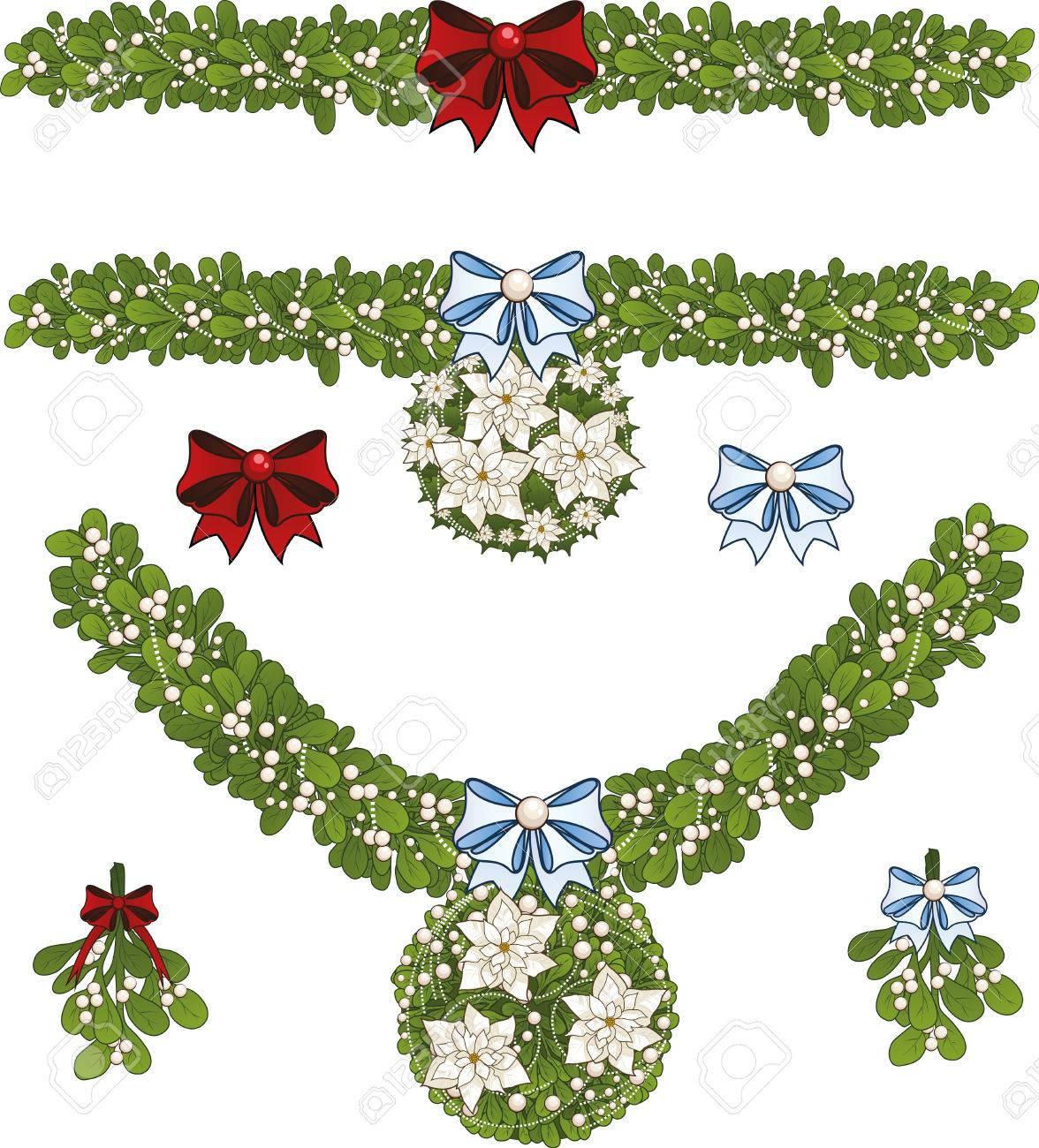 Clip-Art Reihe Von Weißen Weihnachten Mistel Dekorative Girlande Mit ...