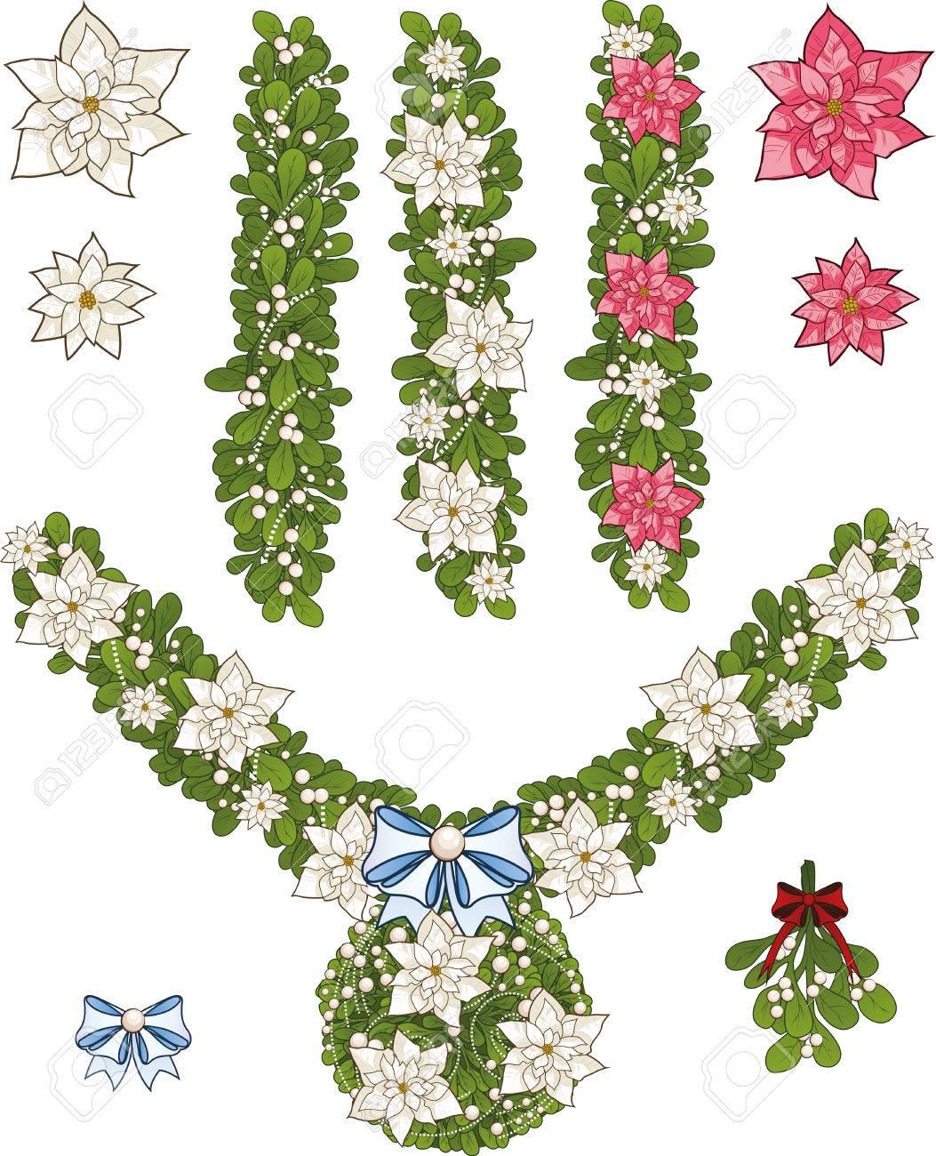 Clip-Art Reihe Von Weißen Weihnachten Mistel Dekorative Girlande ...