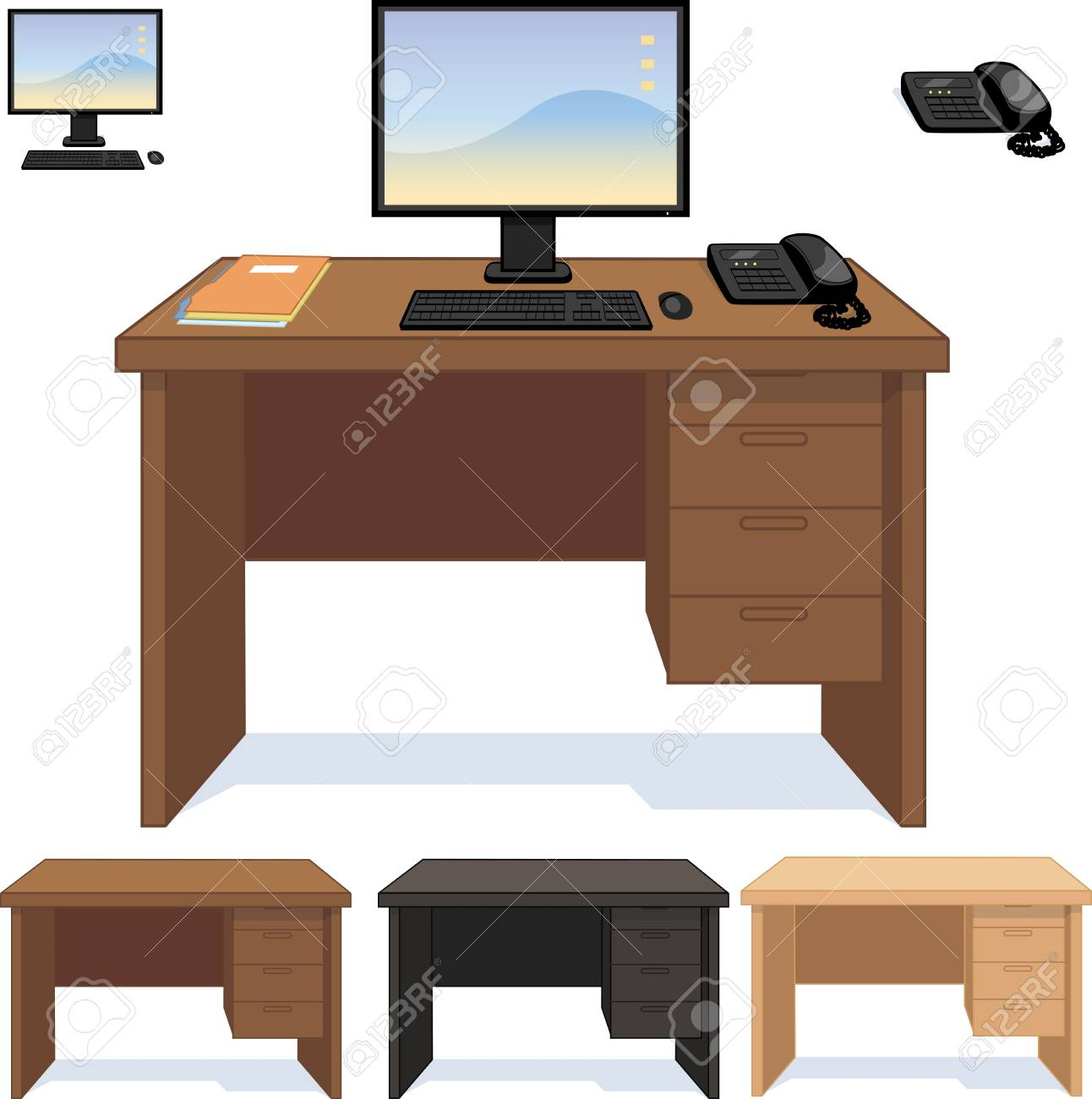 Magnificent Wood Desk Three Color Option With Computer Telephone And Papers Download Free Architecture Designs Scobabritishbridgeorg