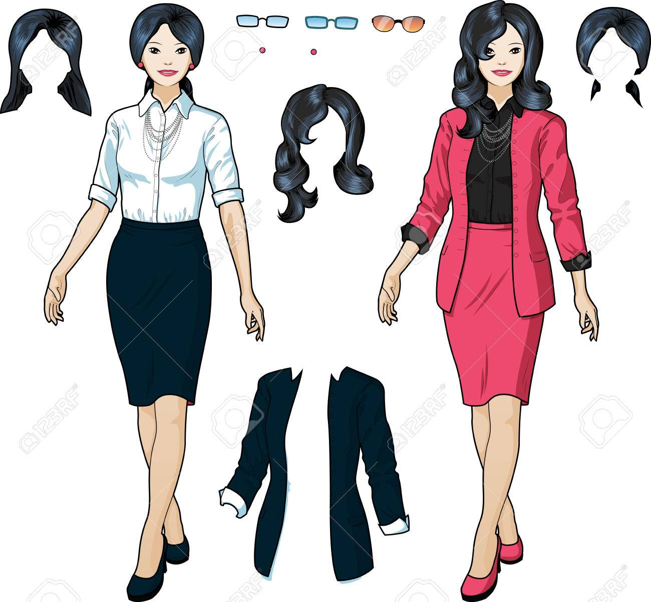ac8fb5ae1fcf8 Beautiful businesswoman of Asian ethnicity in elegant formal wear for office  vector isolated illustrations variation set