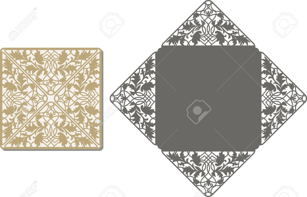 Laser Cut Invitation Card Lasercut Pattern For Invitation Wedding - Wedding invitation envelope template free