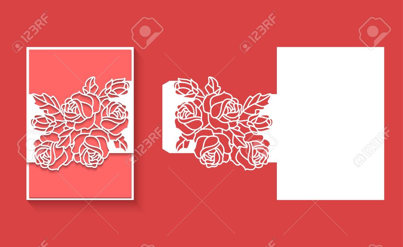 Paper Greeting Card With Lace Border Pattern Of Roses. Cut Out ...