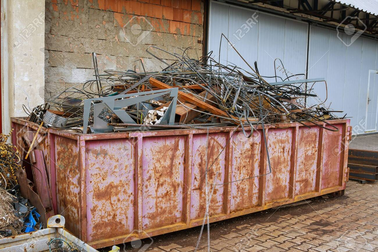Scrap metal recycling. Scrap metal and aluminum scrap from production for processing. - 146966654
