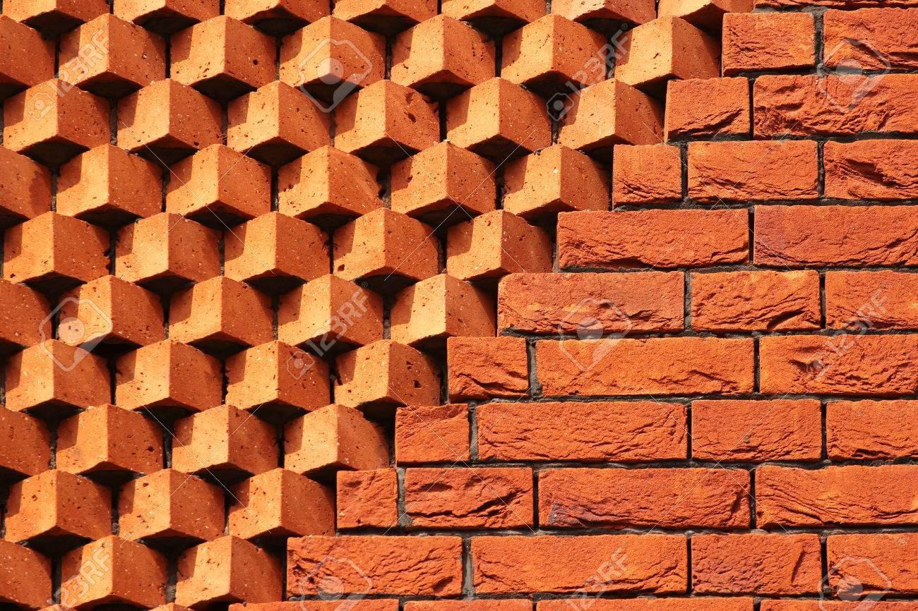 Sawtooth Pattern Brickwork Decorative Red Brick Wall As