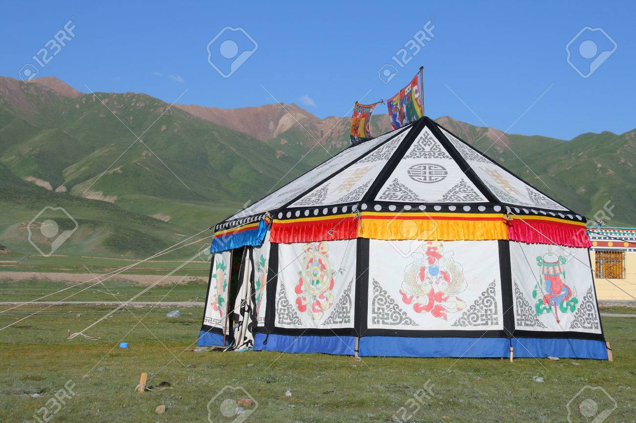 Mountain and Tibetan tent on Tibetan Plateau Qinghai China Stock Photo - 34361899 & Mountain And Tibetan Tent On Tibetan Plateau Qinghai China Stock ...