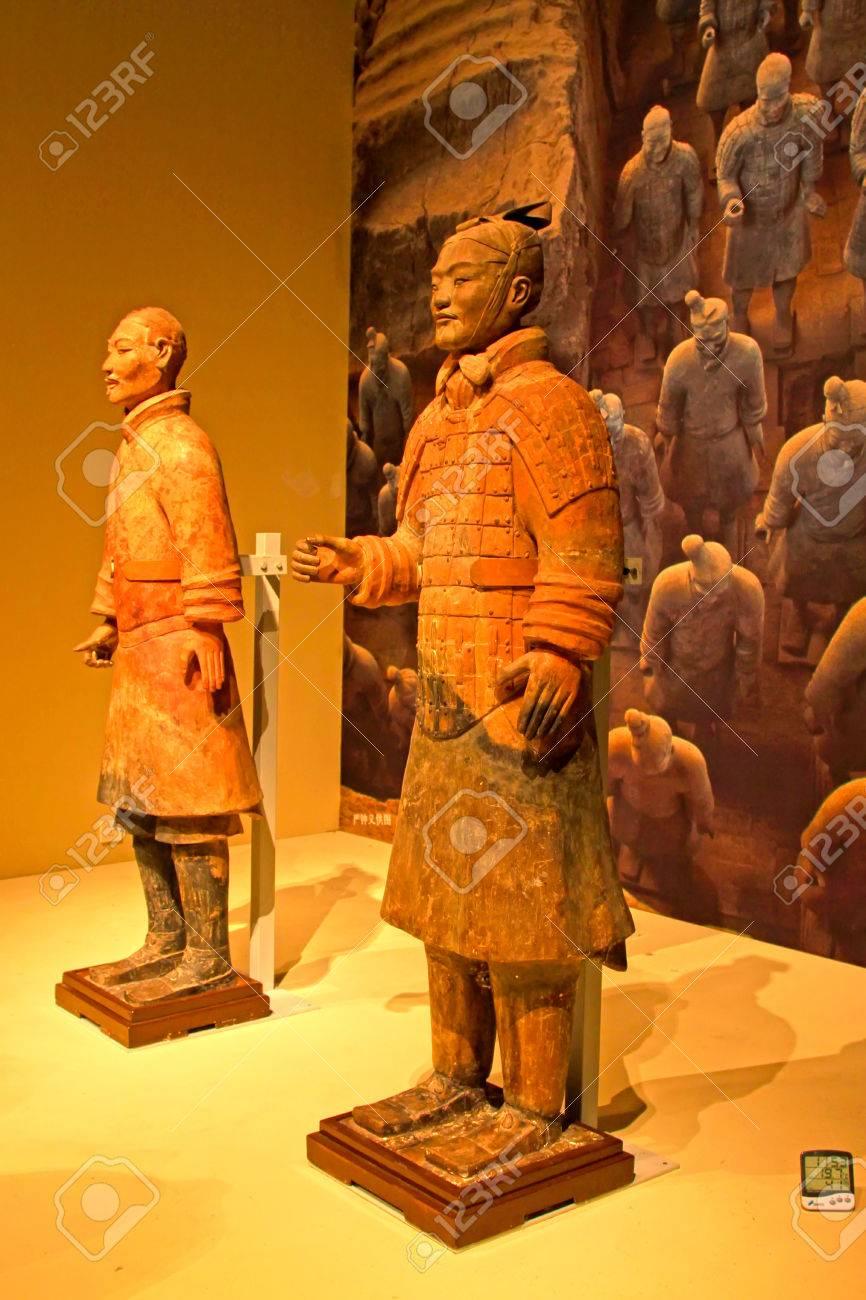 北京, 中国 - 西部ハンの王朝 (紀元前 202年-8年広告): テラコッタ製の ...