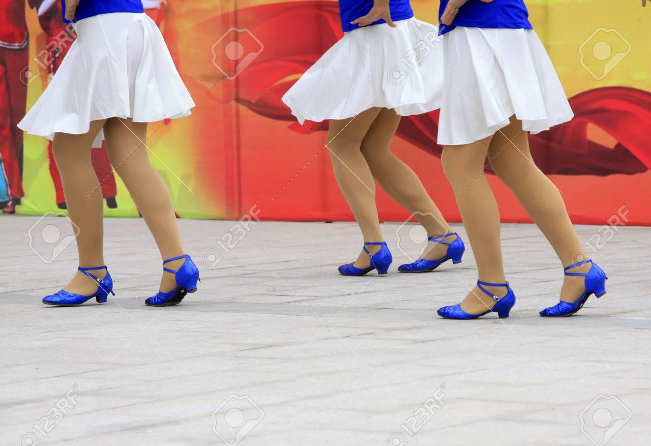 Blue Shoes, Closeup Photo Stock Photo